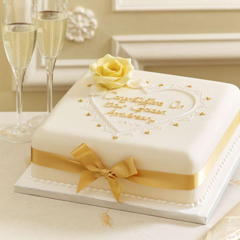 Торты на золотую свадьбу
