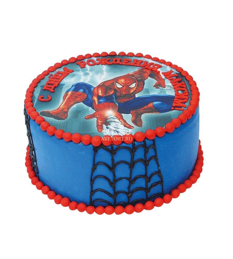 укладке торт с сахарной картинкой человек паук фото для календаря